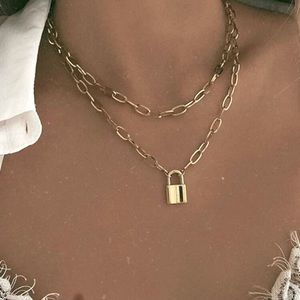 Chunky Gold Chain Necklace with Lock